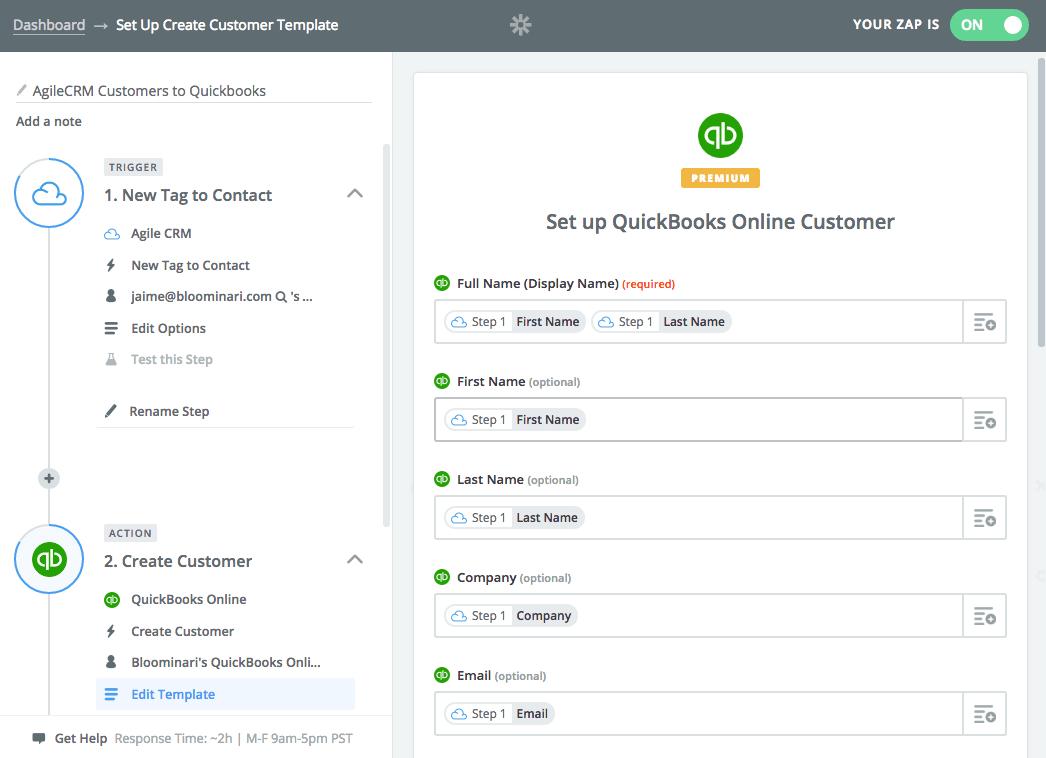 Syncing Data from Agile CRM to Quickbooks via Zap