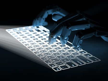Robotic Hands On Keyboard