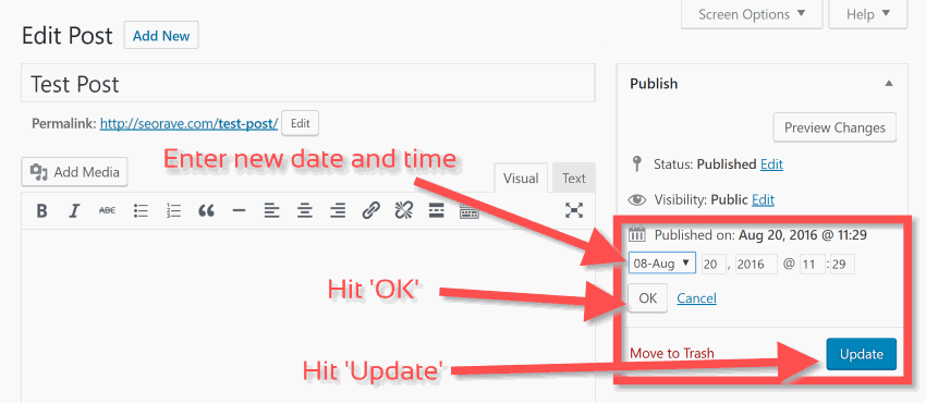 Change date in WordPress