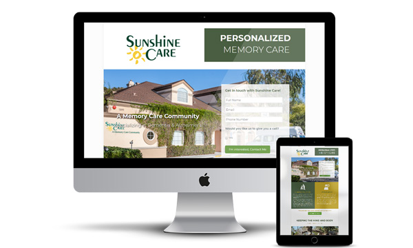 Sunshine Care Landing Page for Lead Generation Advertising Campaign