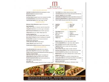 Machiya Menu